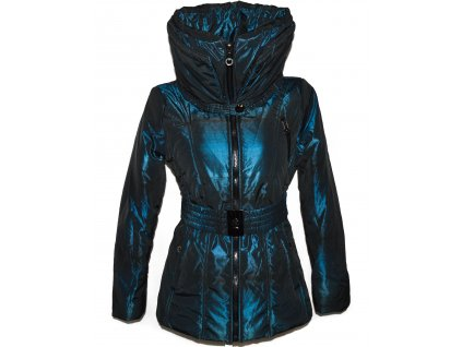Dámský modro-černý prošívaný kabát s páskem a límcem M