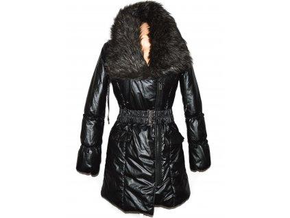 Dámský prošívaný kovový kabát - křivák s páskem a kožíškem Kenvelo M
