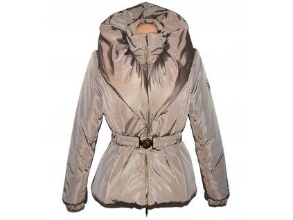 Dámský prošívaný hnědý kabát s páskem a límcem Three sisters L