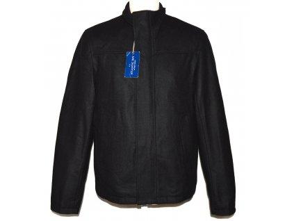 Vlněná (60%) pánská černá zateplená bunda na zip BHS - Atlantic Bay M - s cedulkou