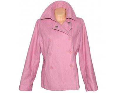 Vlněný (68%) dámský pastelově růžový kabát DENIM 16/44