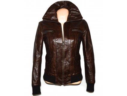 KOŽENÁ dámská hnědá zateplená bunda na zip SASCH S