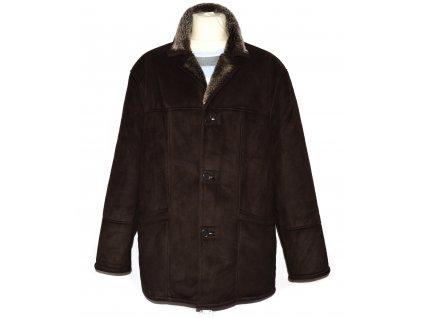 Pánská hnědá zimní bunda s kožíškem uvnitř XL