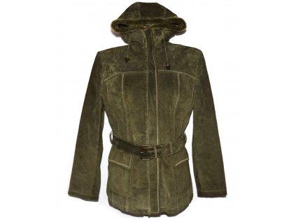 KOŽENÝ dámský khaki zelený semišový kabát s páskem a kapucí Authentic 40