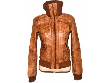 KOŽENÁ dámská hnědá měkká bunda na zip PIMKIE 36
