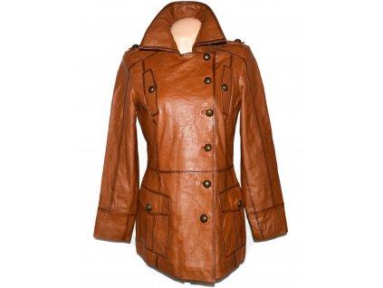 KOŽENÝ dámský měkký hnědý kabát HEINE L