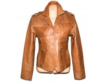 KOŽENÉ dámské hnědé měkké sako Afghan Leather M