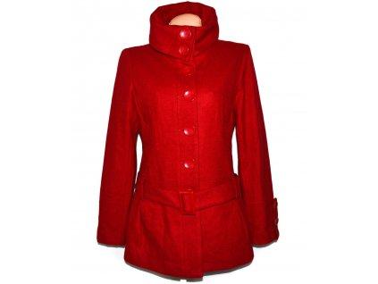 Vlněný (60%) dámský červený kabát s páskem Clockhouse 14/40