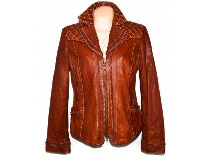 KOŽENÁ dámská hnědá měkká bunda na zip UK 16
