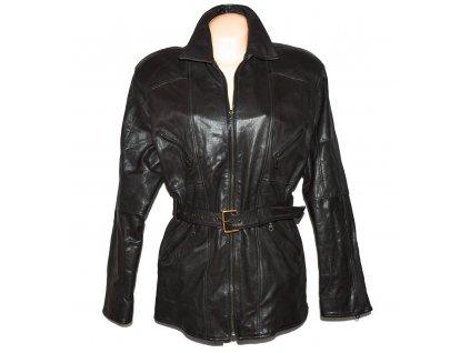 KOŽENÝ dámský hnědý kabát s páskem L/XL