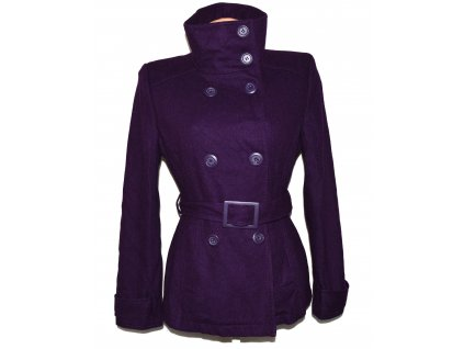 Vlněný (60%) dámský fialový kabát s páskem PIMKIE 12/38