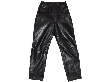 KOŽENÉ dámské černé měkké kalhoty Apart Fashion 34