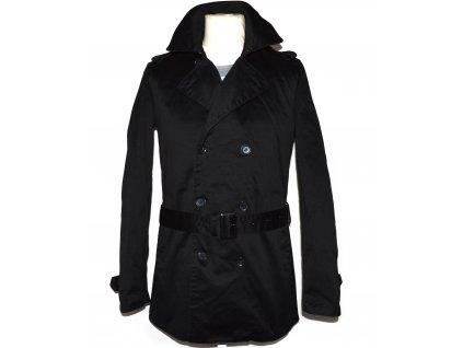 Bavlněný (100%) pánský černý kabát s páskem NEW LOOK S 3