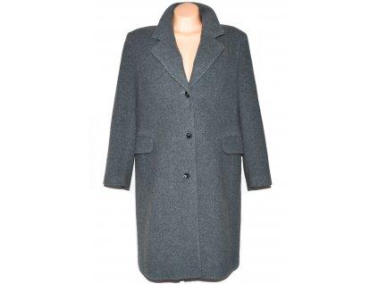 Vlněný (70%) dámský šedý kabát (vlna, kašmír) XXL