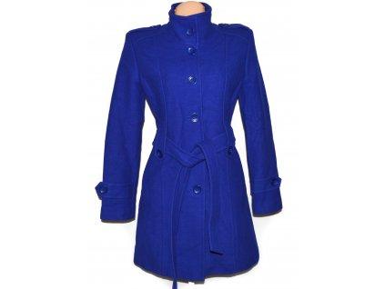 Vlněný (80%) dámský královsky modrý kabát s páskem Yves Tanguy L