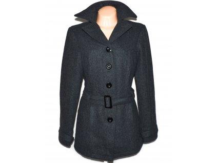 Vlněný (65%) dámský šedý kabát s páskem STREET ONE L