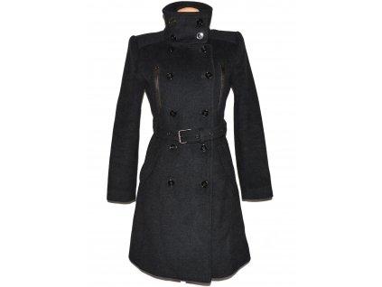 Vlněný (50%) dámský šedý kabát s páskem MANGO M
