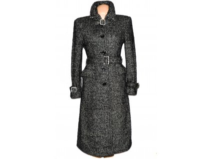 Vlněný dámský černobílý třpytivý dlouhý kabát s páskem M