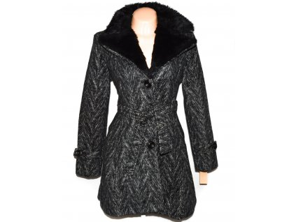 Vlněný (50%) dámský černobílý kabát s páskem XL - s cedulkou