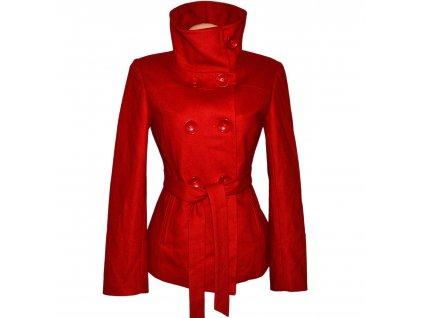 Vlněný (75%) dámský červený kabát s páskem FLO 40