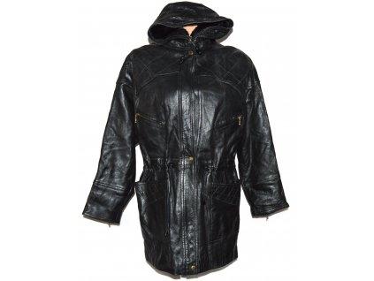 KOŽENÁ dámská černá měkká parka s kapucí XL