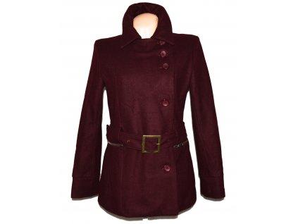 Vlněný (50%) dámský vínový kabát s páskem New Sensation L