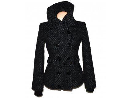 Vlněný dámský šedočerný kabát s páskem BIK BOK S