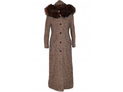 Vlněný (65%) dámský dlouhý hnědý zimní kabát s kapucí Adriano Damianii 38