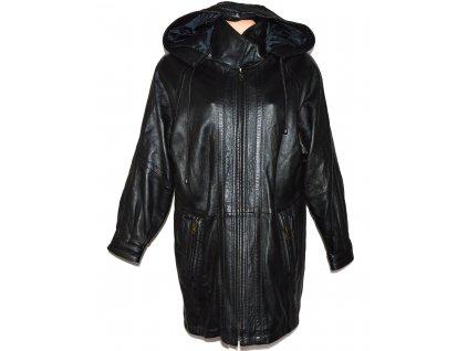 KOŽENÁ dámská černá měkká zimní parka s kapucí Class XL