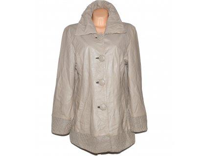 KOŽENÝ dámský béžový měkký kabát XXL