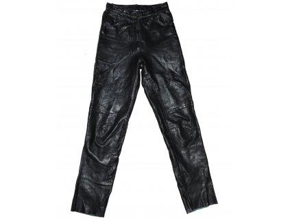 KOŽENÉ dámské černé měkké kalhoty 34