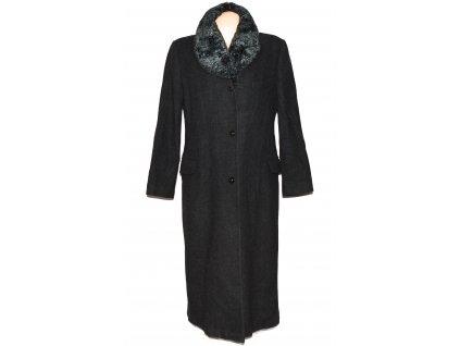 Vlněný dámský dlouhý šedočerný kabát s kožíškem C&A 18/44
