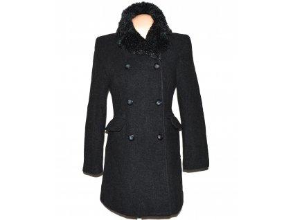 Vlněný (67%) dámský šedočerný kabát Nadia Nardi 36