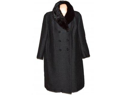 Dámský šedočerný kabát s pravým kožíškem Cori Torino XXL