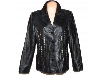KOŽENÉ dámské černé měkké sako s prošíváním Woolpecher XL