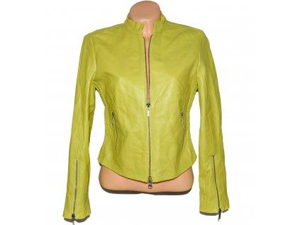 KOŽENÁ dámská limetková měkká bunda na zip APART M/L
