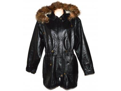 KOŽENÁ dámská černá měkká zimní parka s kapucí s pravým kožíškem Florence XXL