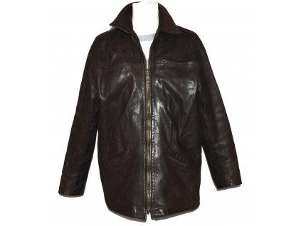 KOŽENÁ pánská hnědá měkká bunda na zip FIRENZE L