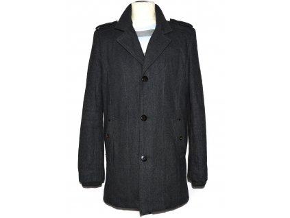 Vlněný (60%) pánský šedý zimní kabát Brand Heritage L