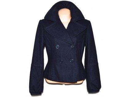 Vlněný (58%) dámský tmavě modrý kabát L