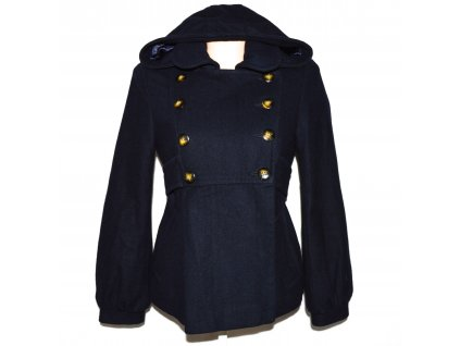 Vlněný (49%) dámský modrý kabát s kapucí TOPSHOP M