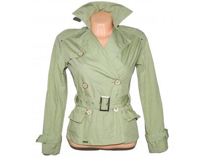 Bavlněný (100%) dámský zelený kabát s páskem Kenneth Cole XS
