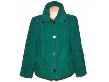 Vlněný (60%) dámský smaragdový kabát Marks&Spencer XXXL