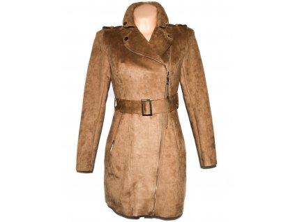 Dámský hnědý semišový kabát- křivák s páskem S - s cedulkou