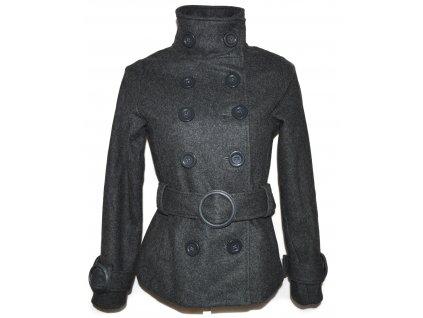 Vlněný (58%) dámský šedý kabát s páskem Philip Russel S