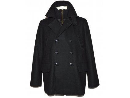 Vlněný (60%) pánský černý kabát In Puncto M
