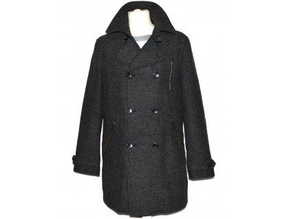 Vlněný (70%) pánský šedočerný kabát C&A L