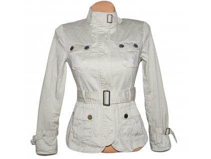 Bavlněný dámský béžový kabát s páskem ZARA S