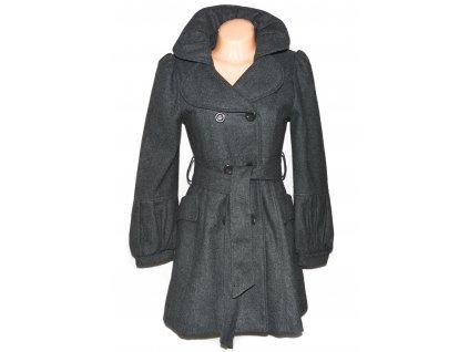Dámský šedý kabát s páskem S
