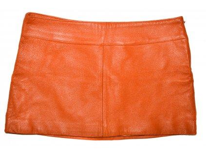 KOŽENÁ dámská oranžová sukně AMISU 36
